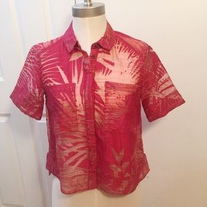 Maeve Sheer Crop Blouse Red Fern Size 0